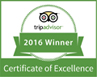 Trip Advisor Centre of Excellence Winner 2016
